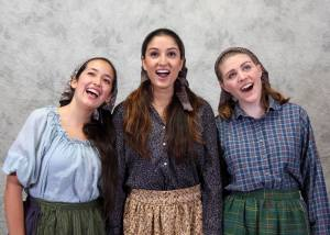 Christie Paz, Leher Pathak, and Kate Matheson as Chava, Tzeitel, and Hodel singing Matchmaker